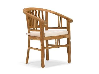 Garten Esszimmer Möbel (Stuhl Teak natur Armlehne Esszimmerstuhl Holzstuhl Gartenstuhl massivum Mawenzi)