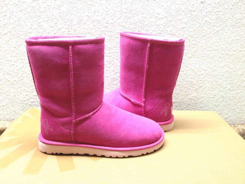 UGG CLASSIC SHORT CANCER AWARENESS RASPBERRY BLING BOOT US 5 / EU 36 / UK 3.5