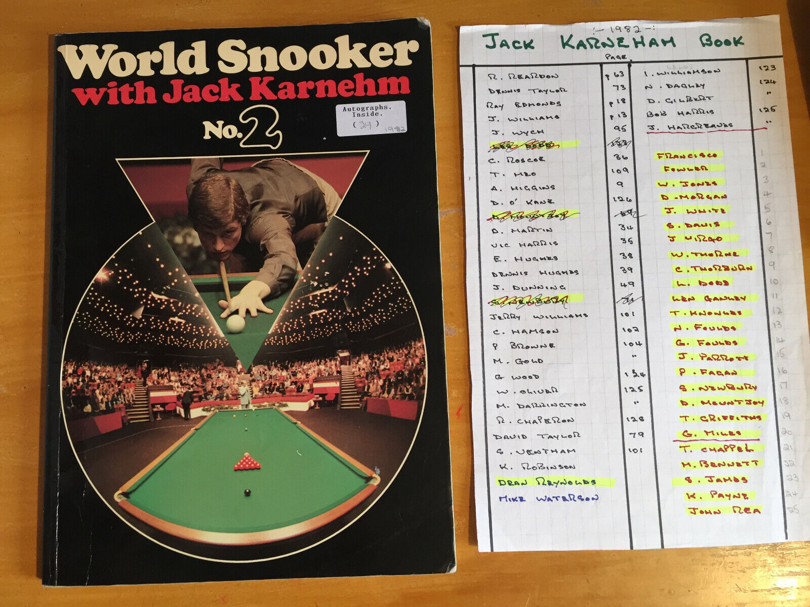 1982 Signed by 29 World Snooker Book with J Karnehm inc Francisco Thorburn Miles