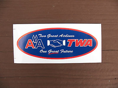 "American Airlines / TWA  -  4"" tool box decal - issued 2001 - Two Great Airlines"