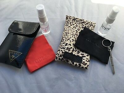 (NEW Guess Eyeglass & Sunglass Cleaning Kit with Cleaning Cloth & Lens Cleaner)