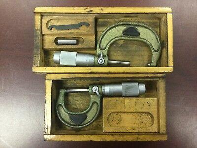 Vis Micrometer Set 0-1 1-2 And Wooden Cases