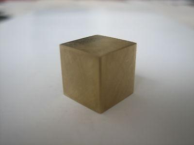 1 CM scale cube. Brass metal. Vintage style. 1cm. Meteorite.