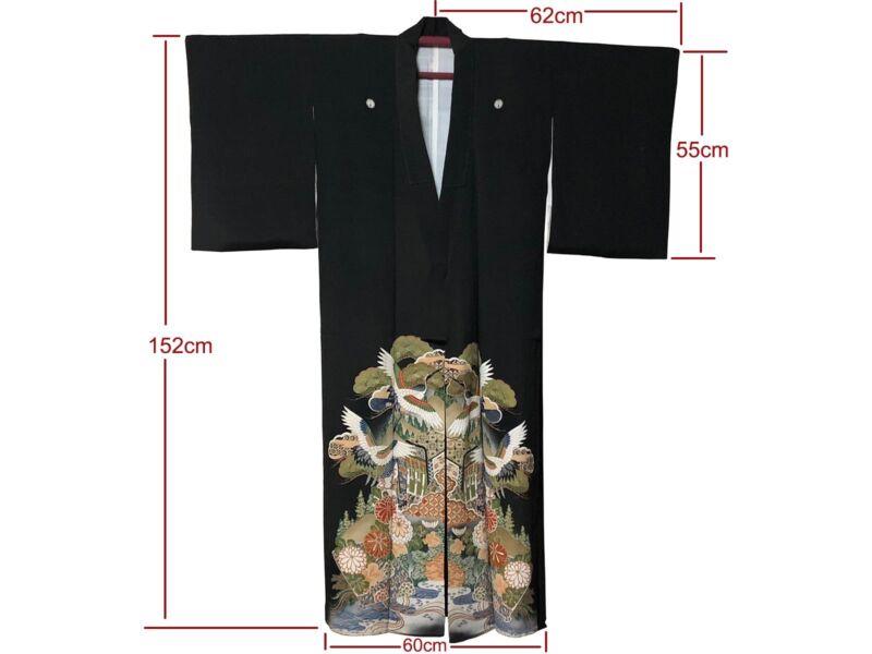 f7d822496 Vintage Formal Black Silk Myogamon Montsuki Tomesode Kimono: Oct18D ...
