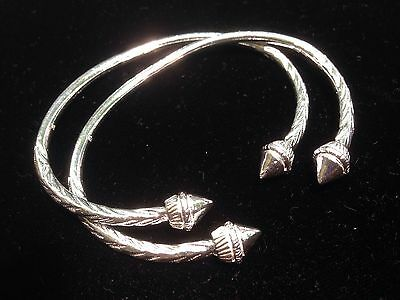 Pair Of Plain Pine Head Handmade West Indian Sterling Silver Bangles