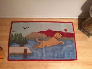 """Vintage Hooked Rug of Dog Jumping off a Dock into a Lake 36x 19"""""""