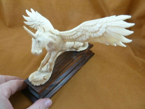 Peg-5 Pegasus Unicorn shed moose antler figurine detailed carving mythical horse