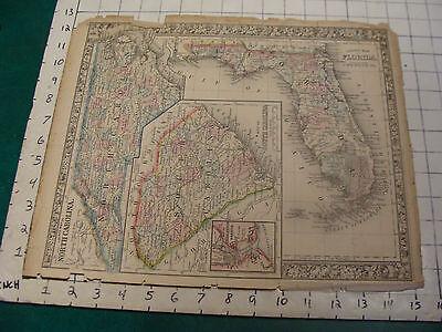 ORIGINAL Hand Colored 1860 Mitchell Map: 15 1/4 x 12 1/2--NO & SO CAROLINA, FL
