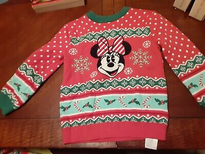 Disney Store Minnie Mouse Holiday Sweater for Baby Girl Red Christmas size 3, PO