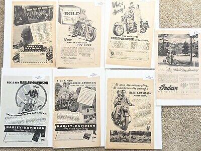 Vintage Harley Davidson Indian Motorcycle Print Ad Lot of 7 advertising 1940s