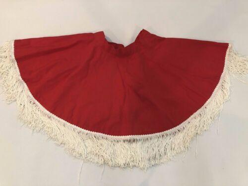 Vintage Childs full Circle Skirt Red White Fringe Western Cowgirl