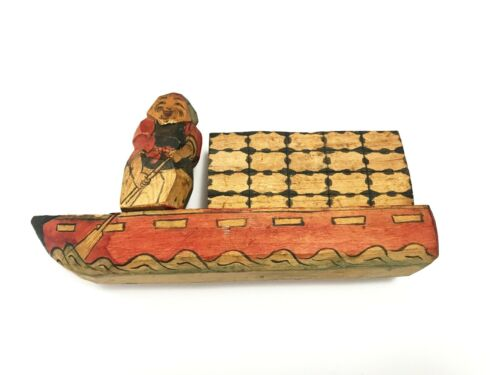 Vintage Asian Canal Boat, Hand Carved and Painted, Toy or Model Wooden Boat