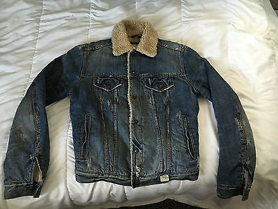 Men's Abercrombie & Fitch Button UP Insulated Jean Jacket Size Small