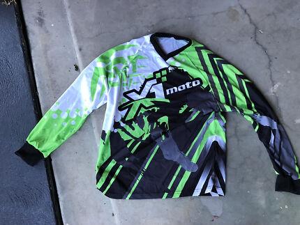 Moto motor cross green long sleeve shirt size L