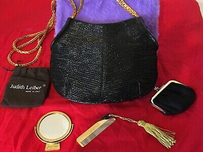 Judith Leiber Black Evening Bag Accessories 4 Piece Gold Chain Vintage