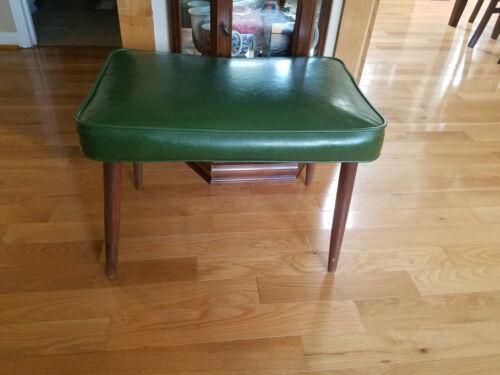"VTG Mid Century 1950s/1960s Green Ottoman Bench Stool 24 X 16"" 17"" Tall"