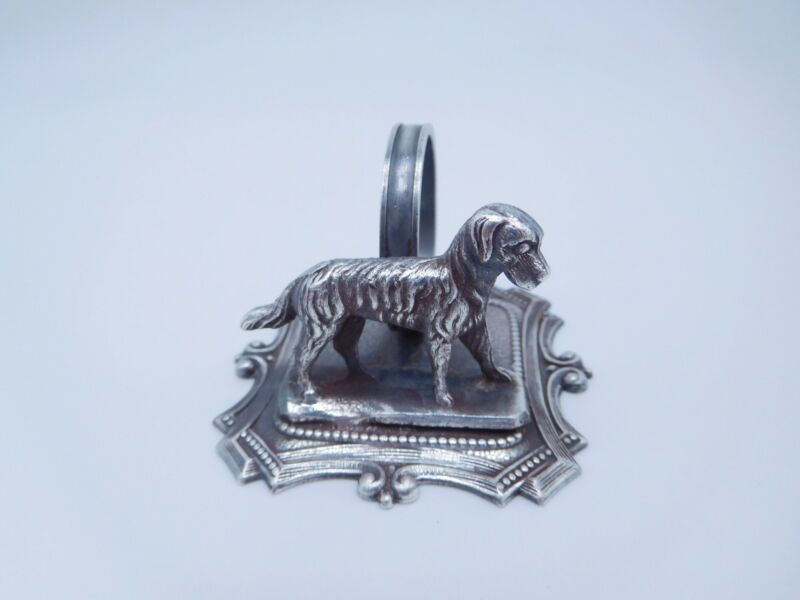 LOVELY VICTORIAN SILVER PLATED FIGURAL CANINE DOG PUPPY NAPKIN RING