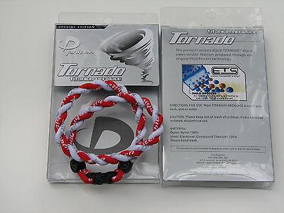 "Phiten Tornado Titanium Necklace  (  Red and White )  18"""