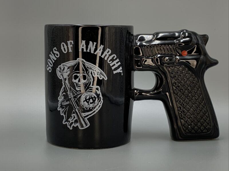 SONS OF ANARCHY Motorcycle Club Gun Grip Skull Reaper Black Coffee Mug
