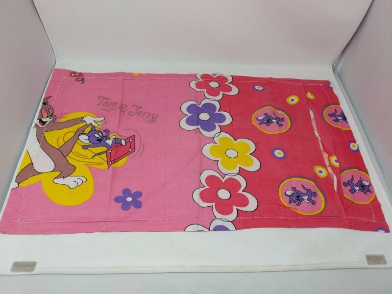 Tom and Jerry Cartoon Handmade Fabric Cloth Pillowcase Floral VTG 1960s 60s