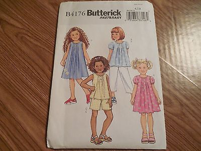 NEW Butterick EASY Pattern B4176 Child/Girls' sz 6-8 Top*Dress*Shorts*Pants
