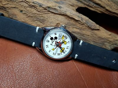 RARE VINTAGE ROLEX OYSTERDATE 6694 WHITE MICKEY MOUSE DIAL MAN'S WATCH