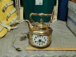 Spartus Corp. (USA) Tea Kettle Pot Analog Wall Clock ~ Retro Floral Decor ~