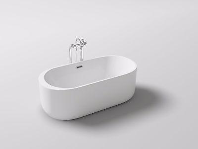 Lyngby Oval White Acrylic Bath Tub Freestanding Bathtub Soaker New ()