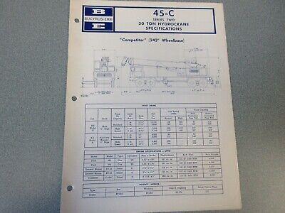 Rare Bucyrus-erie 45-c Crane Excavator Spec Information 1971