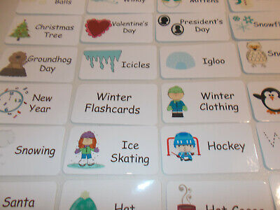 Winter Season theme Preschool Picture and Word Flash Cards.  Laminated - Seasonal Themes