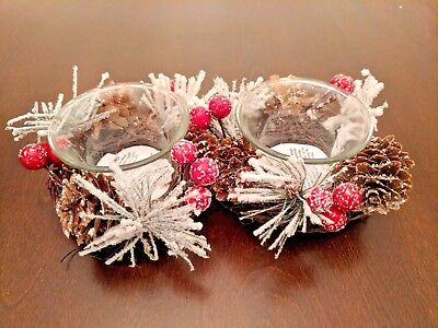 NEW Pier 1 Winter/Christmas Tealight Candle Set Pine Needles, Pinecones, (Pine Winter Needles)