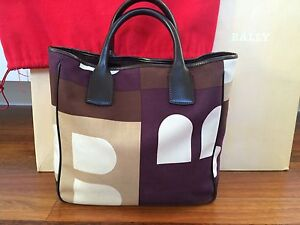 Authentic Bally Canvas Leather B logo Tote Bag