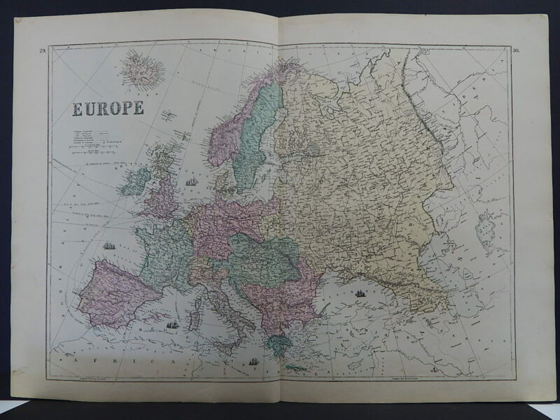 Antique Map, 1875, Europe