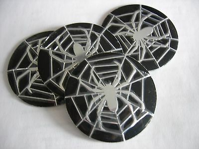 SPIDER SPIDERMAN WEB  WHEEL CENTER CAP  EMBLEMS SET 4 ALUMINUM STICKERS