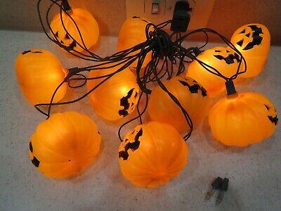 Vintage Blow Mold Pumpkin String Lights 10ct Jack O Lantern Tested A3222