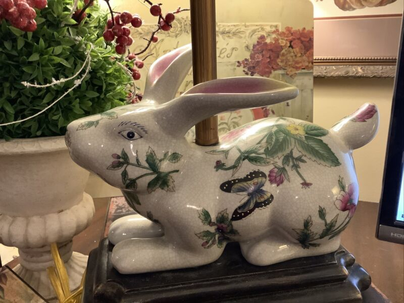 Rabbit/Bunny Lamp~Crackle Finish/Wood Base~Butterfly/Floral~French~FREE SHIPPING