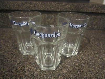 Hoegaarden Belgian Beer Glasses Full Size Pint Glasses Hexagon Shape Set of 3