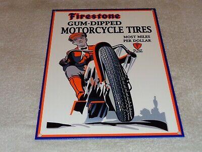 "VINTAGE FIRESTONE GUM DIPPED MOTORCYCLE TIRES 12"" METAL TIRE GASOLINE & OIL SIGN"