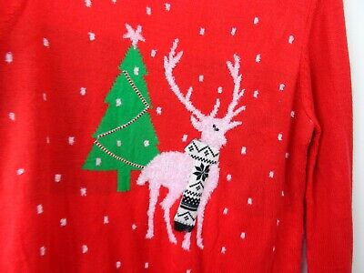 Joe Fresh Christmas jumper reindeer snowflake acrylic red L/XL