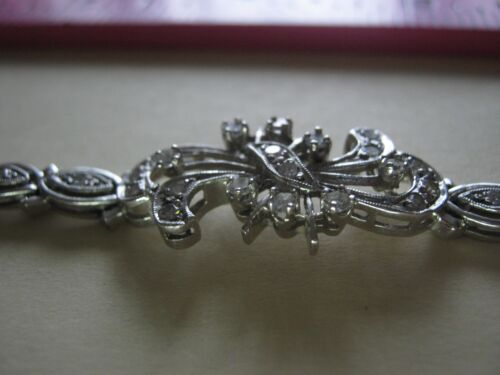 "14k White Gold Diamond Bracelet .50 TCW / SI1 / G-H / 7"" Edwardian Style"