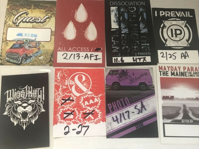 Show Passes Lot of 8! AFI, I Prevail, Mice & Men, Bayside, Mayday Parade