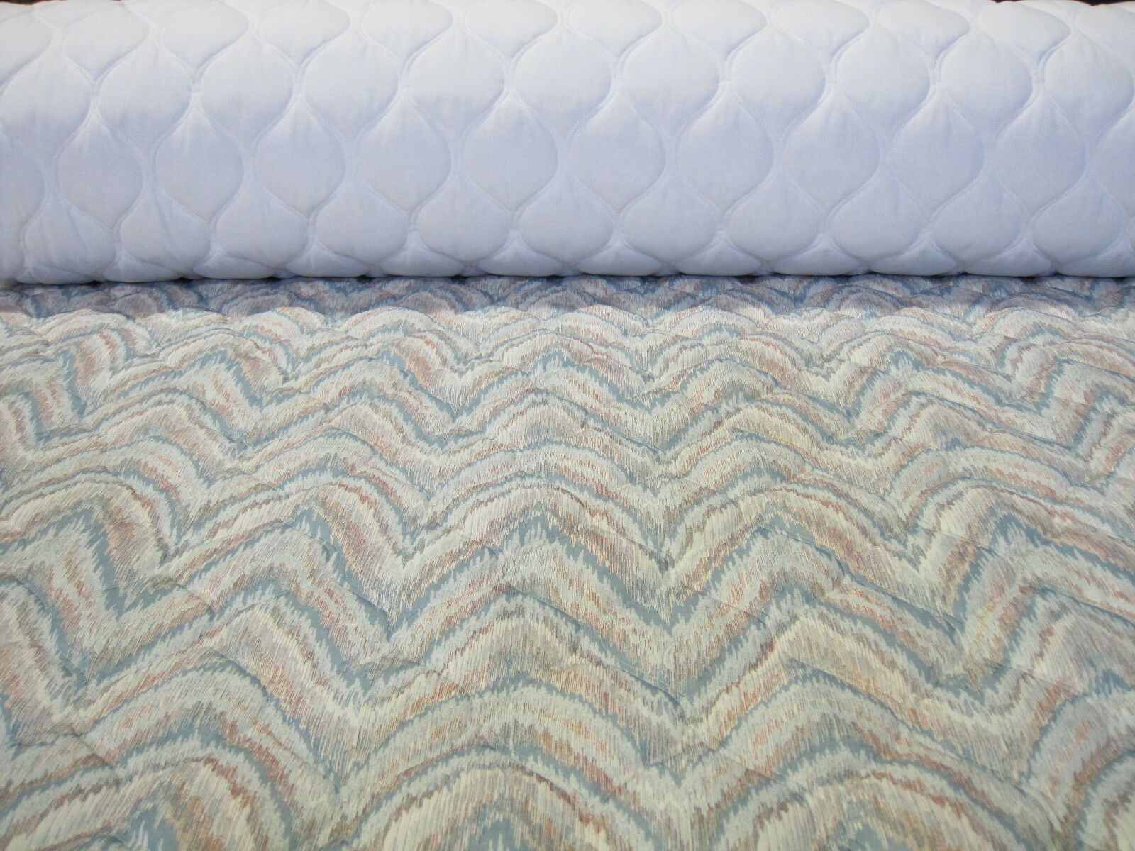 pre quilted fabric flamestitch pretty teal green