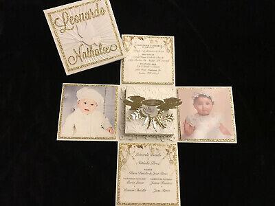 TWIN BAPTISM, FIRST COMMUNION, BABY SHOWER,BIRTHDAY, EXPLODING BOX INVITATIONS Baptism Birthday Invitations