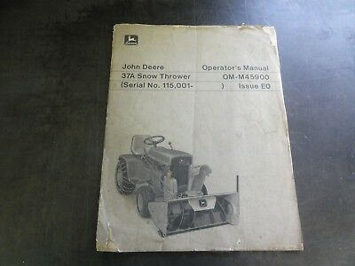 John Deere 37a Snow Thrower Operators Manual  Om-m45900 Issue E0