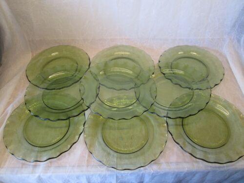 Set 9 Hazel Atlas AVOCADO GREEN CRINOLINE Ripple Pattern Vintage Dinner Plates