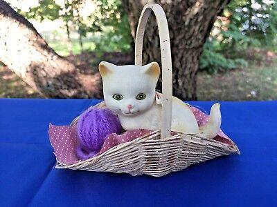 Quality Persian Kitten Cat Yarn Ball Shabby Chic Basket UNIQUE SET Figurine ❤️j8