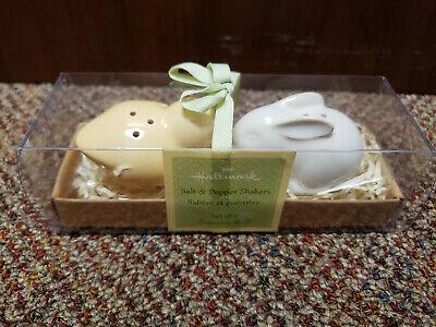 Hallmark Easter Bunny Rabbit & Yellow Chick Salt & Pepper Shakers NEW
