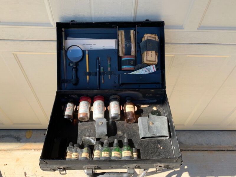 Vintage Faurot Fingerprint Kit Forensic Crime Lab