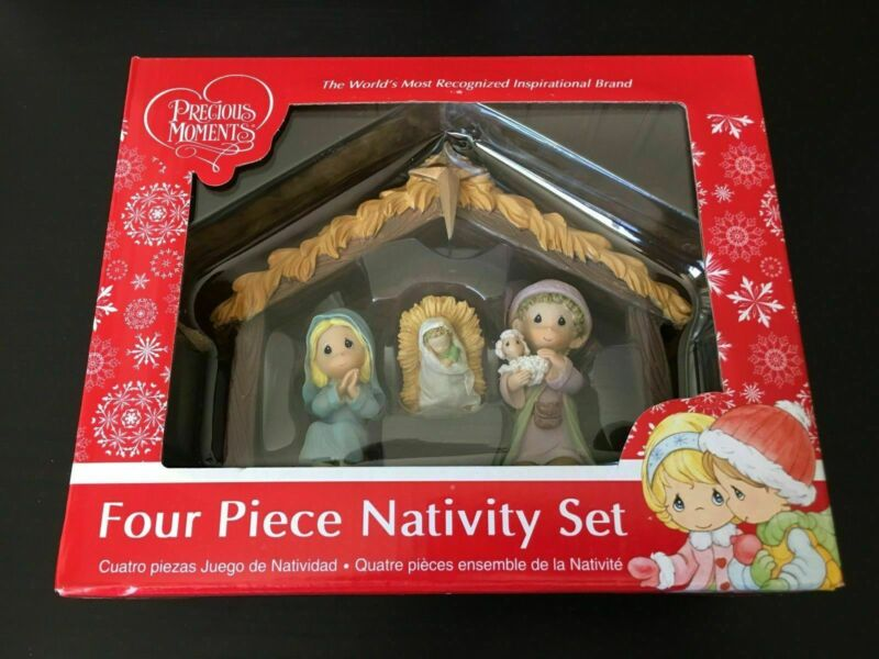 NEW Precious Moments Novelty 4 Piece Nativity Set Christian Christmas Decoration