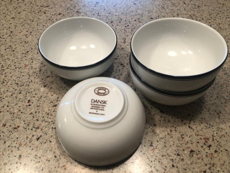 Set of 4 Dansk Bistro Christianshavn Blue Cereal Bowls 5 Inch Portugal